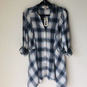 Vintage America Blue Plaid Tunic Size Medium NWT